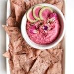 garlic beet pink hummus veggiekins