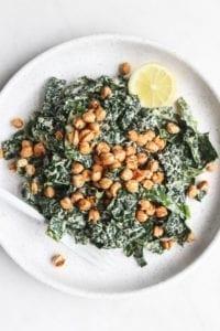 Vegan Kale Caesar Salad + Garlicky Chickpeas [vegan, gluten