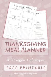 photo about Thanksgiving Menu Planner Printable named Thanksgiving Supper Designing + No cost Obtain! Veggiekins