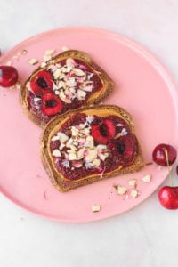 Hibiscus Cherry Chia Jam on Toast