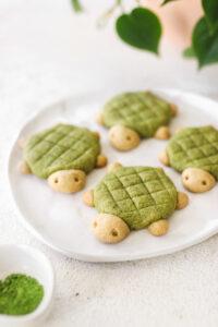 Turtle Shaped Vegan Matcha Cookies