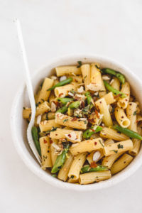 Vegan Green Bean Almond Gremolata Pasta
