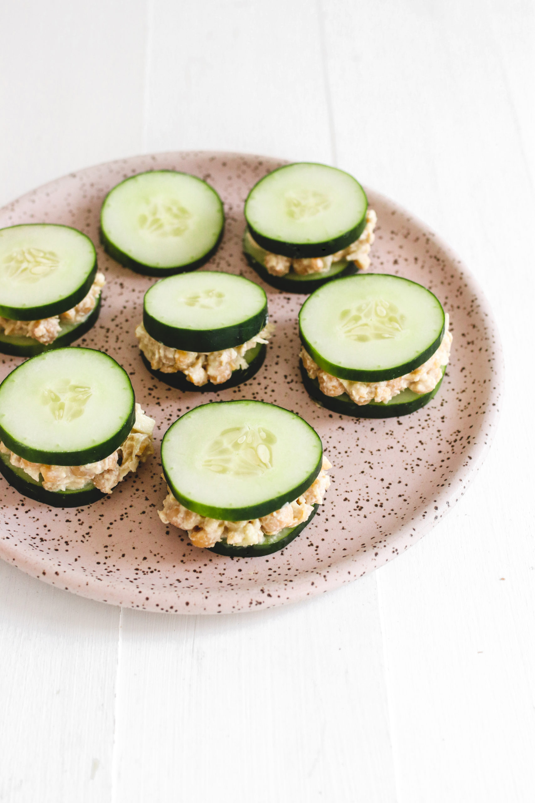 Chickpea Tuna Salad Cucumber Sandwiches Veggiekins